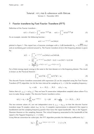 Tutorial : , & coherence with M 1 Fourier transform by Fast Fourier ...