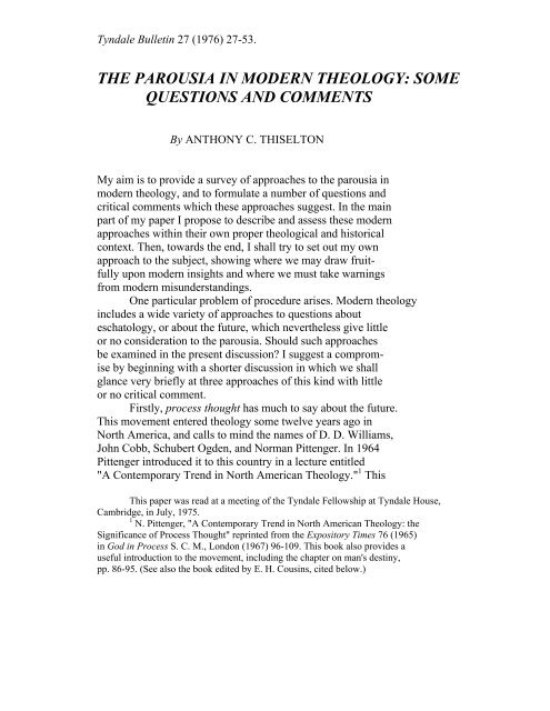 the parousia in modern theology: some questions ... - Tyndale House