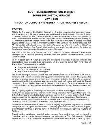 Progress Report for the School Board, May, 2012 - South Burlington ...