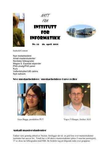 NYTT FRA INSTITUTT FOR INFORMATIKK - Universitetet i Bergen