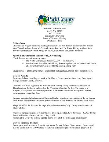 October 2010 Board Meeting Minutes - Park County Library System