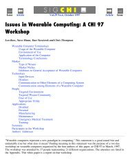 Issues in Wearable Computing: A CHI 97 Workshop - The Media ...