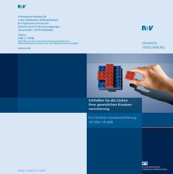 KRANKEN- VERSICHERUNG R+V Kranken-Zusatzversicherung VR ...