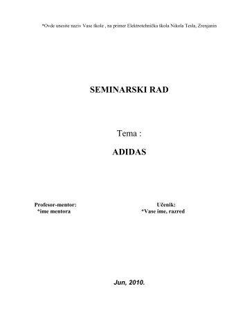 ADIDAS - Seminarski Maturski Diplomski Radovi