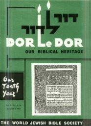DOR.le DOR - Jewish Bible Quarterly