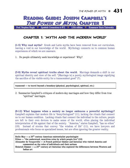 Reading Guide Joseph Campbells The Power Of Myth Chapter 1