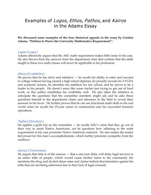 Use of Pathos, Logos and Ethos Essay Example | Topics and Well Written Essays - words