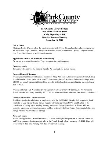 December 2010 Board Meeting Minutes - Park County Library System