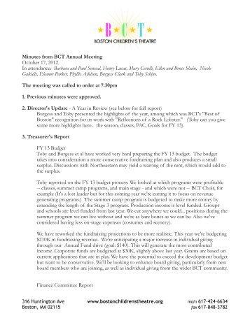 Annual Meeting Minutes - Boston Children's Theatre
