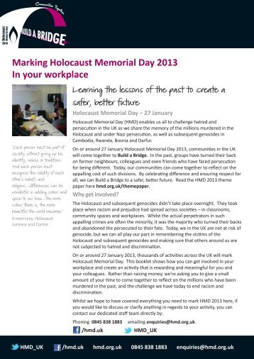 Marking HMD in your workplace - Holocaust Memorial Day Trust