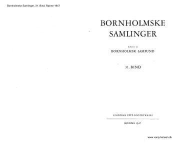 Bornholmske Samlinger - Bind 31 - Bornholms Historiske Samfund