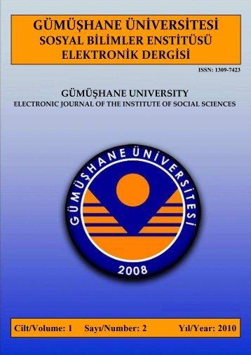 Cilt 1 / Sayı 2 - GÜ SBE Elektronik Dergisi - Gümüşhane Üniversitesi