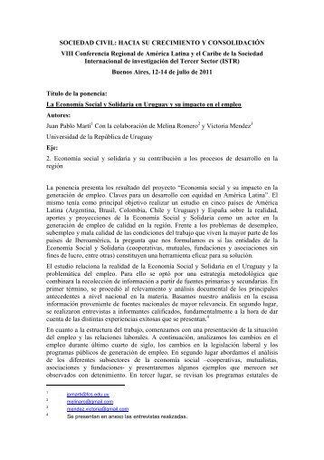La Economía Social y Solidaria en Uruguay y su impacto en el empleo