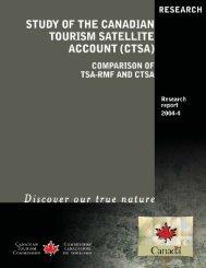 Study of the Canadian Tourism Satellite Account (CTSA)