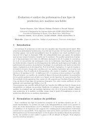 Evaluation et analyse des performances d'une ligne de production ...