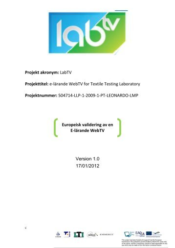 e-lärande WebTV for Textile Testing Laboratory Projektnummer