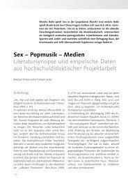 Sex – Popmusik – Medien Literatursynopse und empirische Daten ...