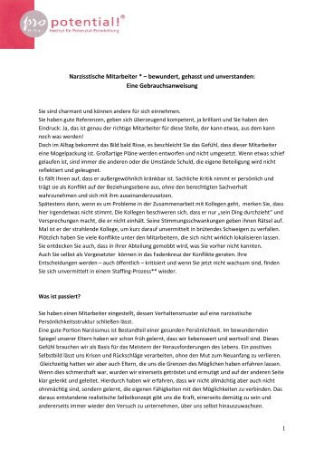 Narzisstische Mitarbeiter - Pro Potential!