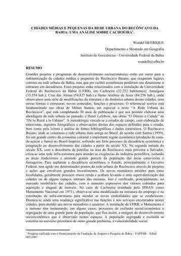 CIDADES MÉDIAS E PEQUENAS DA REDE URBANA DO ...