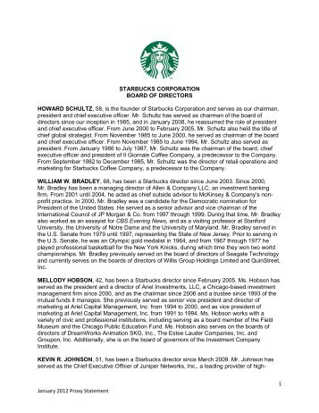 starbucks corporation board of directors howard schultz