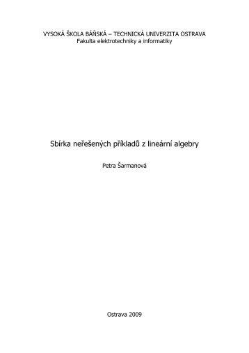 Sbírka neřešených příkladů z lineární algebry - HomeL - Vysoká ...