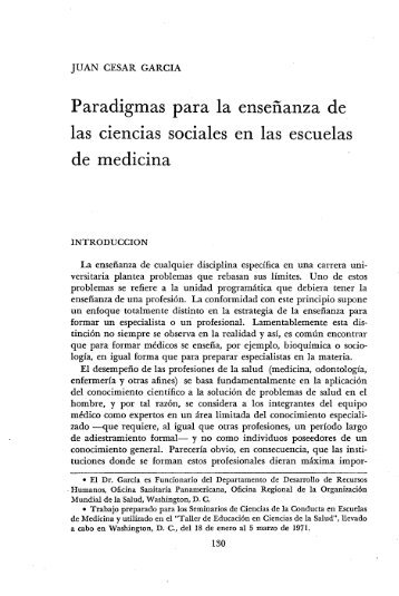 Paradigmas para la enseñanza de las ciencias sociales - PAHO/WHO