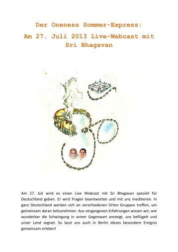 Am 27. Juli 2013 Live-Webcast mit Sri Bhagavan - Oneness 24