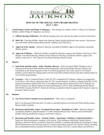 minutes of the special town board meeting july 7 ... - Town of Jackson