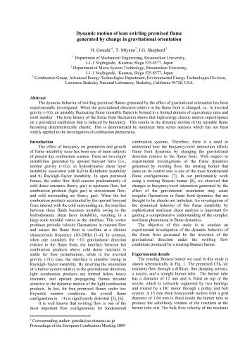 Dynamic motion of lean swirling premixed flame generated by ...