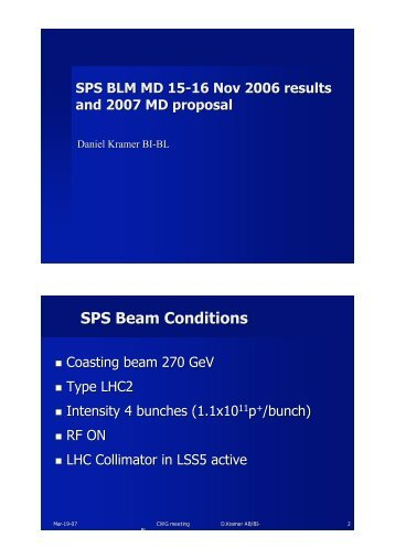 SPS Beam Conditions - Home of the LHC Collimation Study Group ...