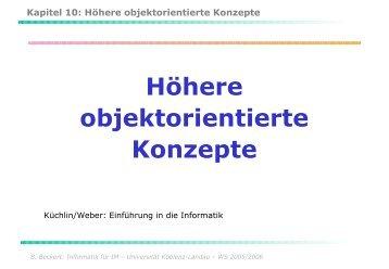 Kapitel 10: Höhere objektorientierte Konzepte