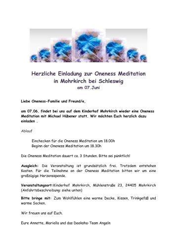 Herzliche Einladung zur Oneness Meditation in ... - Oneness 24