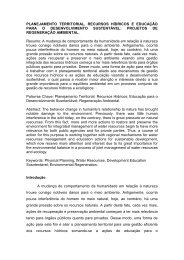 Planejamento Territorial, Recursos Hídricos e Educação...