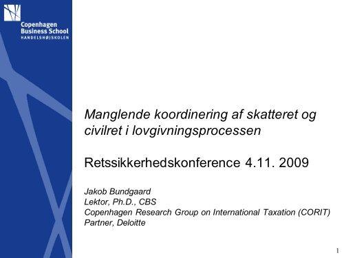 Manglende koordinering af skatteret og civilret i ... - Corit Advisory
