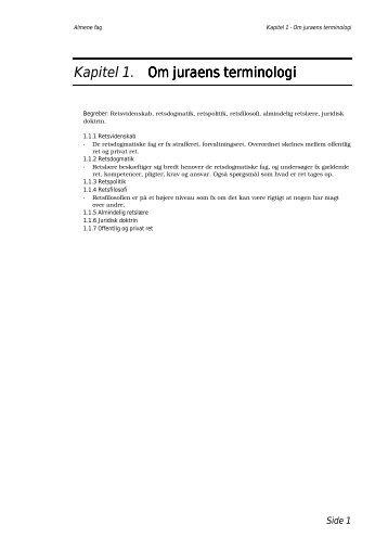 Kapitel 1. Om juraens terminologi Om juraens terminologi