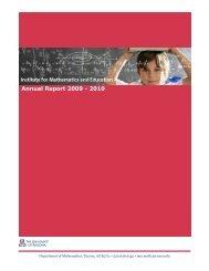 Annual Report 2009 - 2010 - Institute for Mathematics & Education ...