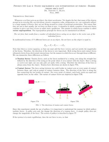 Physics experiment of force and equilibrium