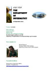 NEWS FROM THE DEPARTMENT OF INFORMATICS