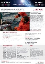 ProGrammHiGHliGHts juni 2012 - Planet