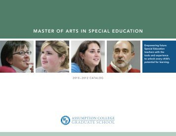 Special Education Catalog - graduate studies at assumption college