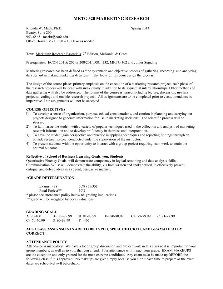 marketing syllabus spring Like most internet businesses, marketing 957 is a work in progress, and students enrolling in the spring 2017 version of the course will be asked to assist in refining the process and tools used in class, and should anticipate that areas for improvement will inevitably.