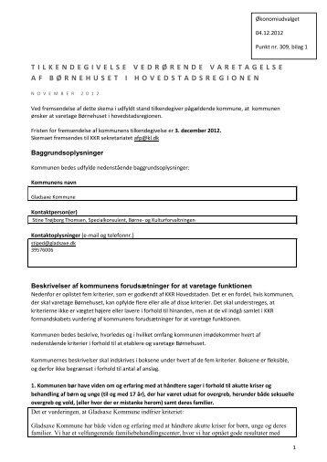 Tilkendegivelse vedr. Børnehus - Gladsaxe Kommune