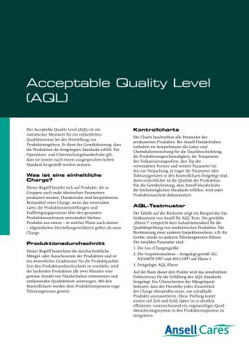 Acceptable Quality Level (AQL) - Ansell Healthcare Europe