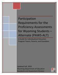 Requirements for Participation in Wyoming's Alternate Assessment ...