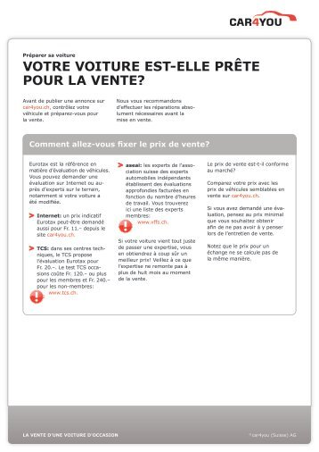 Préparer sa voiture - Guide | car4you.ch - Ratgeber - Car4you