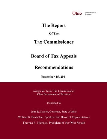 The Report Tax Commissioner Board of Tax Appeals ...