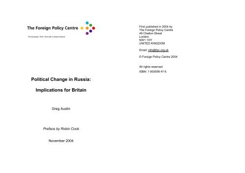 Political Change in Russia - Foreign Policy Centre