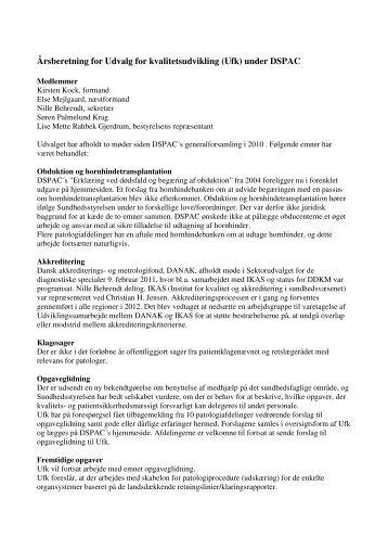 Årsberetning for Udvalg for kvalitetsudvikling (Ufk) under DSPAC