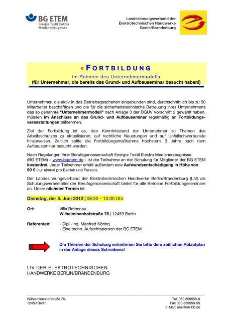 F O R T B I L D U N G - Elektro-Innung Berlin