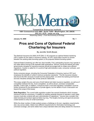 Pros and Cons of Optional Federal Chartering for Insurers